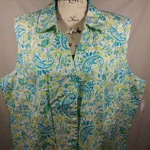 Basic editions green floral blouse top